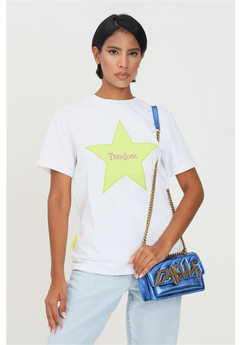 White women's t-shirt by teen idol with star and logo embroidery on the front short sleeve TEEN IDOL | T-shirt | 029797001