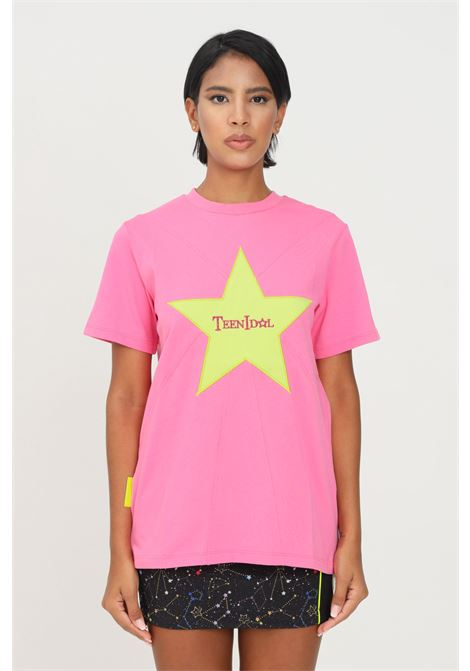 Fuchsia women's t-shirt by teen idol with star and logo embroidery on the front short sleeve TEEN IDOL | T-shirt | 029797044