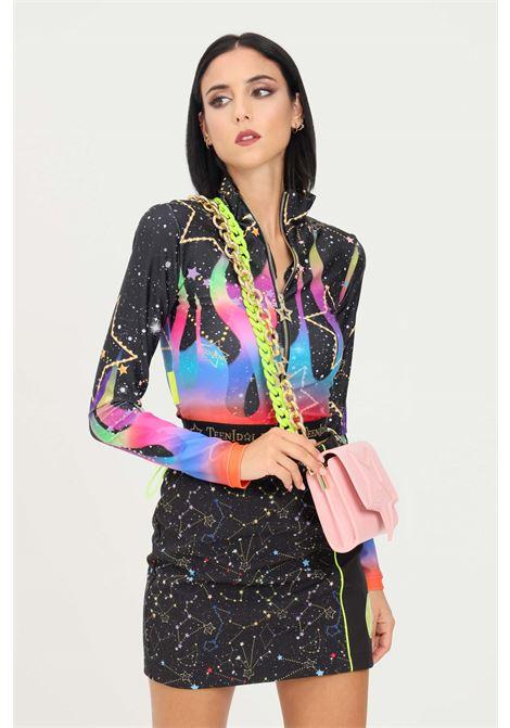 Black women's sweatshirt by teen idol with zip and space print TEEN IDOL | Sweatshirt | 029811200