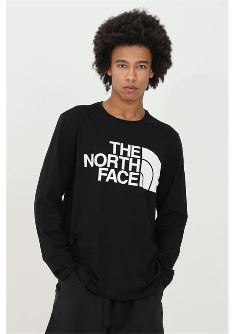 T-shirt uomo nero the north face a manica lunga con stampa logo frontale a contrasto THE NORTH FACE   T-shirt   NF0A5585JK31JK31