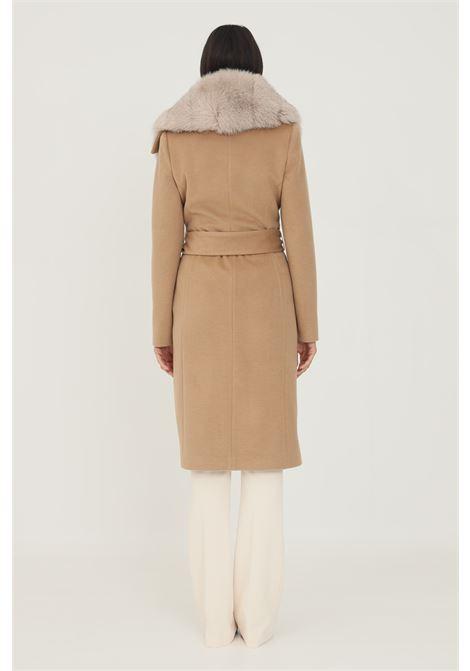 Camel women's coat by un furtive with removable fur UN_FURTIVE   Coat   CD1073CAMMELLO