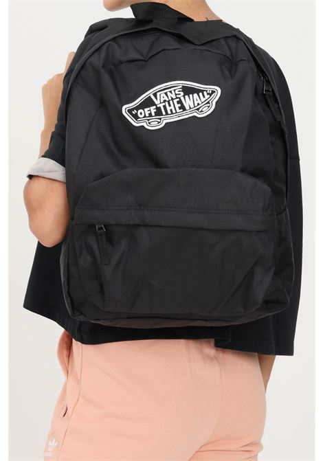 Black unisex backpack by vans with logo patch on the front VANS | Backpack | VN0A3UI6BLKBLK