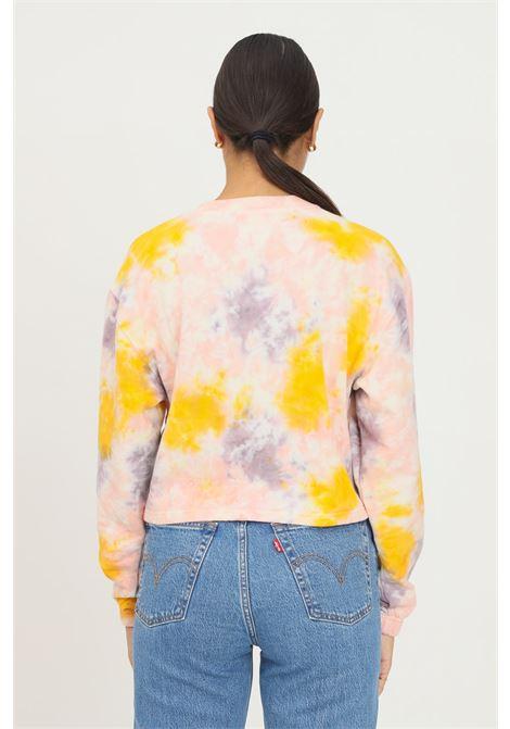 Orange women's sweatshirt by vans, crew neck model with allover print. Short cut VANS | Sweatshirt | VN0A5JH7Z00Z00