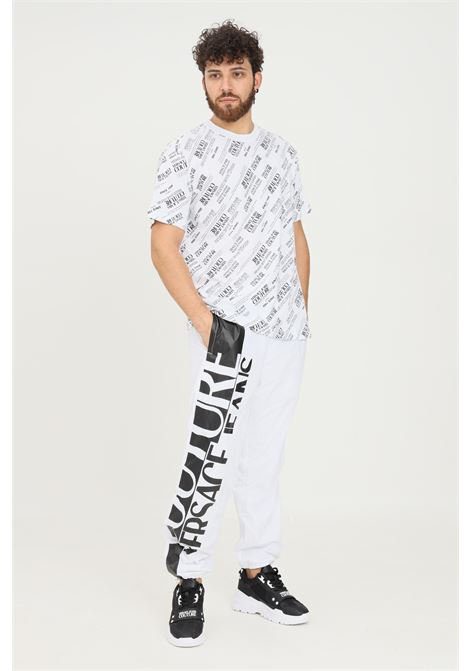 White men's trousers by versace jeans couture with side logo VERSACE JEANS COUTURE | Pants | 71GAA102CQS04003