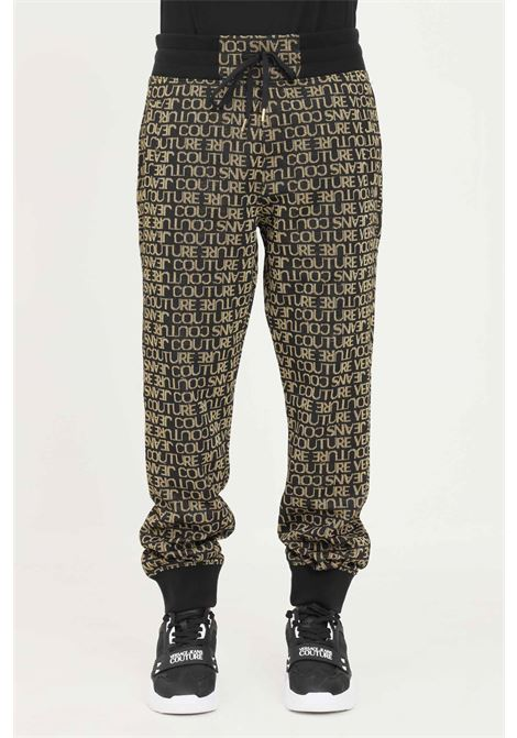 Black men's sweatpants by versace jeans couture casual model with allover gold logo VERSACE JEANS COUTURE | Pants | 71GAA3B9F0005G89 (899+948)