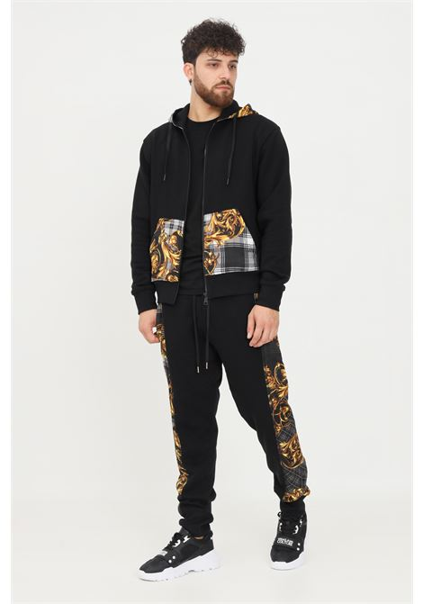 Black men's trousers by versace jeans couture casual model with baroque bands  VERSACE JEANS COUTURE | Pants | 71GAA3C6F0002899
