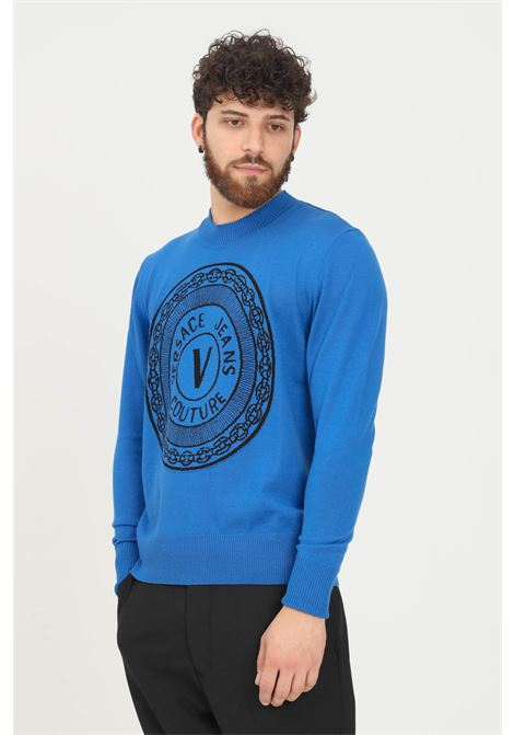 Blue men's sweater by versace jeans couture with logo on the front VERSACE JEANS COUTURE | Knitwear | 71GAF803CM01MOB2 243+899