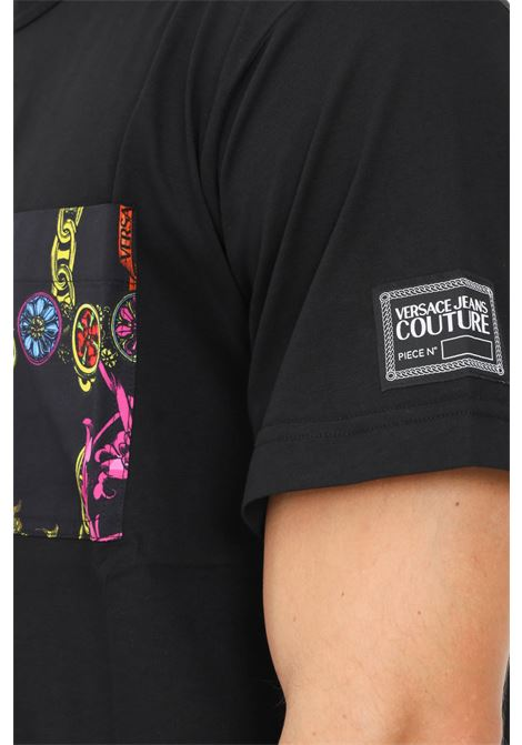 Black men's t-shirt by versace jeans couture with front pocket, short sleeve VERSACE JEANS COUTURE | T-shirt | 71GAH610NS007899