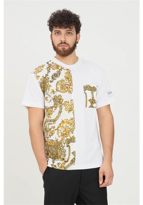 T-shirt uomo bianco versace jeans couture a manica corta con taschino frontale VERSACE JEANS COUTURE   T-shirt   71GAH610NS007G03 (003+948)