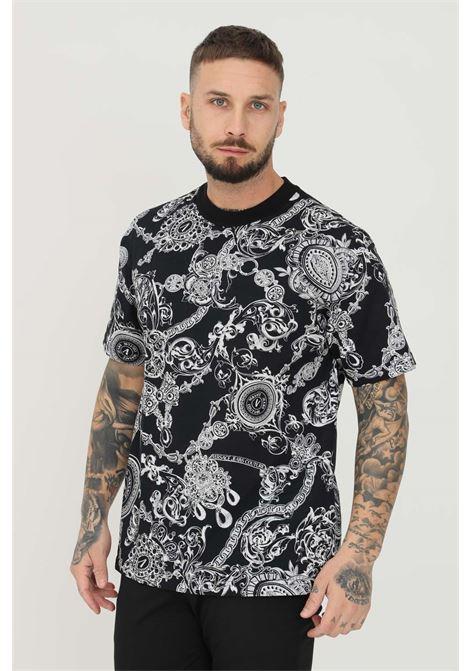 Black men's t-shirt by versace jeans couture with allover print VERSACE JEANS COUTURE | T-shirt | 71GAH6R1JS017899