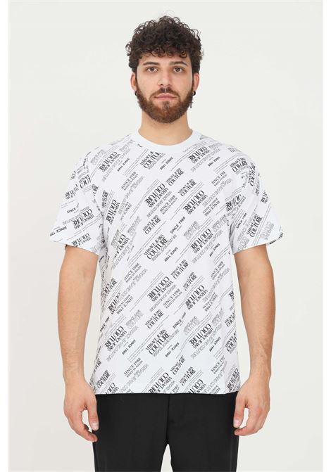 White men's t-shirt by versace jeans couture with allover contrasting print VERSACE JEANS COUTURE | T-shirt | 71GAH6R2JS000003