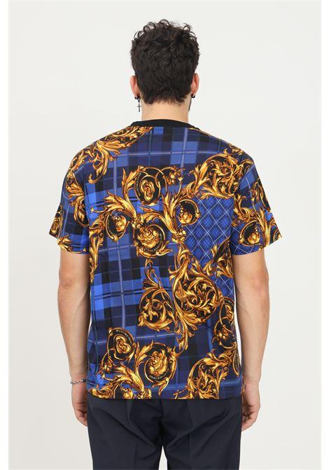 Blue gold men's t-shirt by versace jeans couture with baroque print VERSACE JEANS COUTURE | T-shirt | 71GAH6R6JS025G42 (242+ ORO)