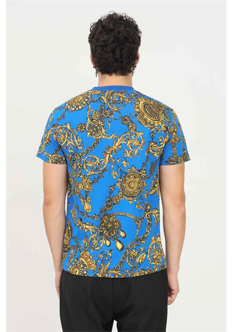 Blue men's t-shirt by versace jeans couture with allover print, short sleeve VERSACE JEANS COUTURE | T-shirt | 71GAH6S0JS015G24 (243+948)