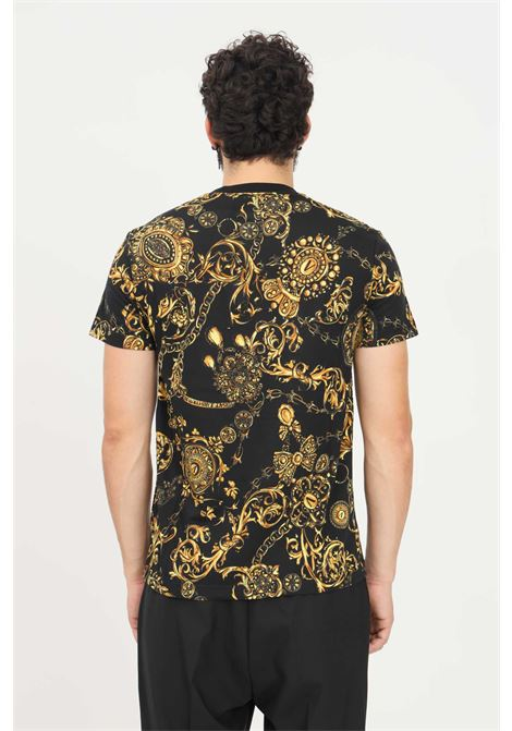Black men's t-shirt by versace jeans couture with allover print, short sleeve VERSACE JEANS COUTURE   T-shirt   71GAH6S0JS015G89 (899+948)