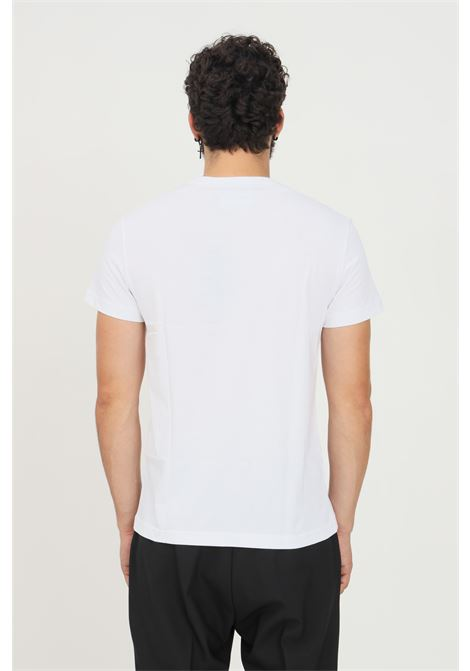 White men's t-shirt by versace jeans couture with gold logo print short sleeve VERSACE JEANS COUTURE   T-shirt   71GAHT04CJ00TG03 (003+948)