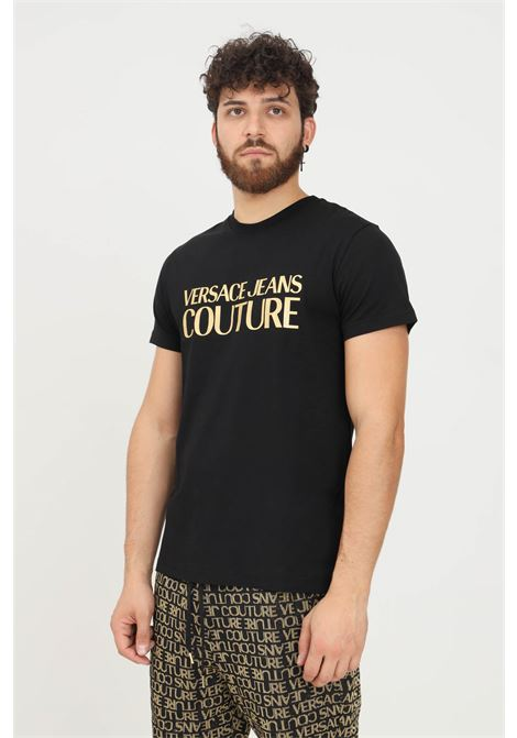 Black men's t-shirt by versace jeans couture with gold logo print short sleeve VERSACE JEANS COUTURE   T-shirt   71GAHT04CJ00TG89 (899+948)