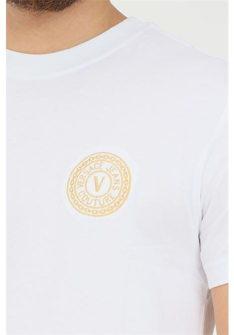 T-shirt bianco uomo versace jeans couture con logo ricamato sul fronte VERSACE JEANS COUTURE   T-shirt   71GAHT10CJ00TG03 (003+948)