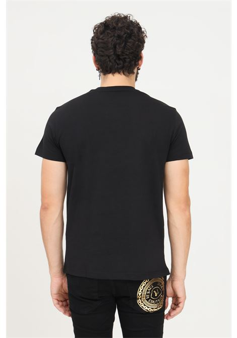 Black men's t-shirt by versace jeans couture with embroidered logo on the front VERSACE JEANS COUTURE | T-shirt | 71GAHT10CJ00TG89 (899+948)