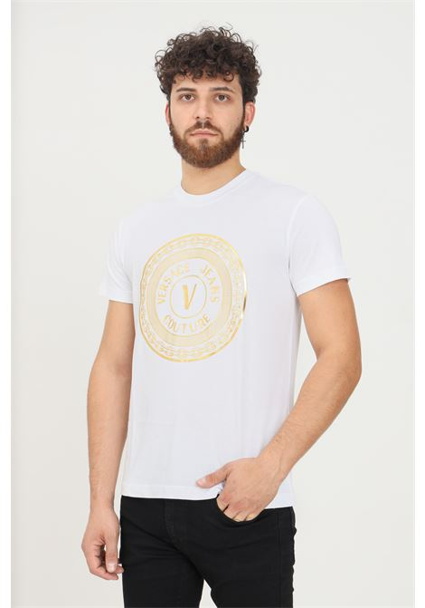 T-shirt bianco uomo versace jeans couture con stampa oro VERSACE JEANS COUTURE   T-shirt   71GAHT12CJ00TG03 (003+948)