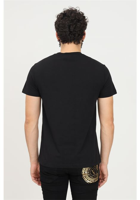 Black men's t-shirt by versace jeans couture with gold print VERSACE JEANS COUTURE   T-shirt   71GAHT12CJ00TG89 (899+948)