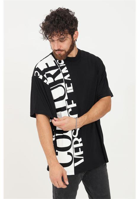 Black men's t-shirt by versace jeans couture short sleeve VERSACE JEANS COUTURE | T-shirt | 71GAHT18CJ00T899
