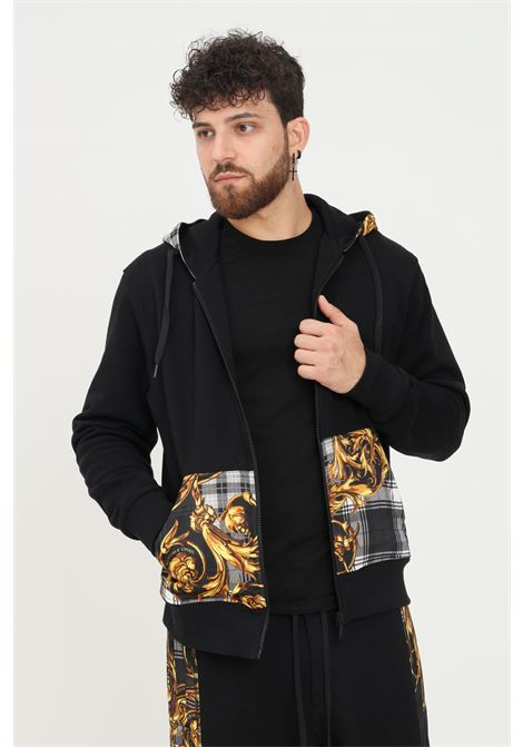 Black men's hoodie by versace jeans couture with zip VERSACE JEANS COUTURE | Sweatshirt | 71GAI3Z7F0002899