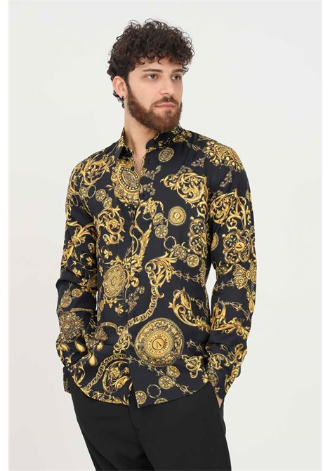 Black men's shirt by versace jeans couture with baroque print VERSACE JEANS COUTURE   Shirt   71GAL2S0NS007G89 (899+948)