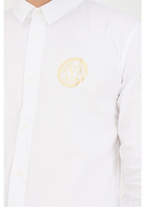 Camicia uomo bianco versace jeans couture elegante con stampa logo VERSACE JEANS COUTURE   Camicie   71GAL2S1CN001003
