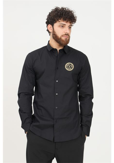 Black men's shirt by versace jeans couture, elegant model with logo print VERSACE JEANS COUTURE   Shirt   71GAL2S1CN001899