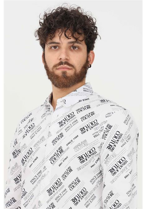 Camicia uomo bianco versace jeans couture casual con stampa logo allover VERSACE JEANS COUTURE   Camicie   71GAL2S2NS004003