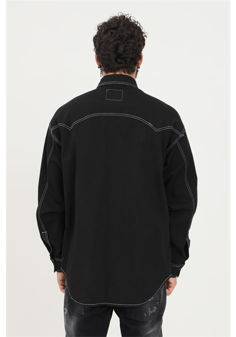 Black men's shirt by versace jeans couture with stitched texture VERSACE JEANS COUTURE   Shirt   71GAL51PEW002TC2899