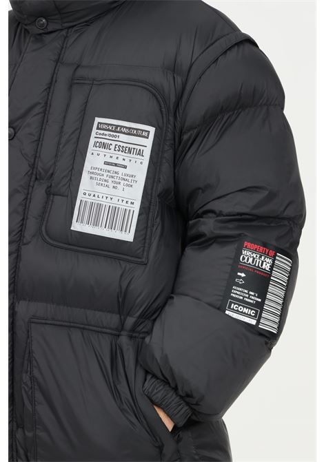 Black men's down jacket by versace couture jeans with hood and logo print VERSACE JEANS COUTURE | Jacket | 71GAU411CQS08899