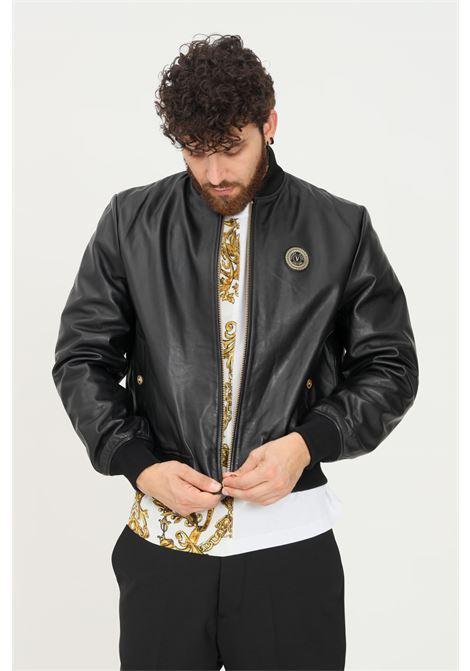 Black men's leather jacket by versace jeans couture with zip VERSACE JEANS COUTURE   Jacket   71GAVP06CP001899