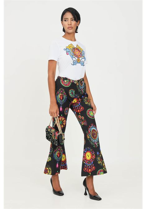 Black women's trousers by versace jeans couture, wide bottom, allover print VERSACE JEANS COUTURE | Pants | 71HAA111NS008899