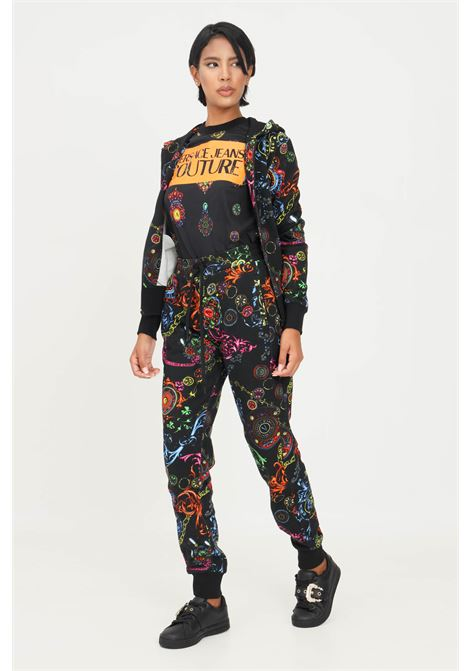 Black women's trousers by versace jeans couture with allover print VERSACE JEANS COUTURE | Pants | 71HAA310FS002899