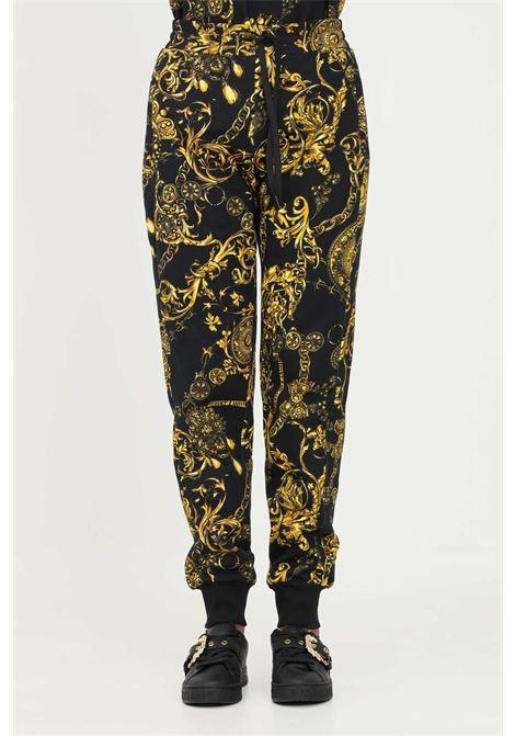 Pantaloni nero donna versace jeans couture con stampa allover VERSACE JEANS COUTURE   Pantaloni   71HAA310FS002G89 (899+948)