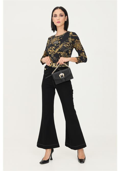 Black women's trousers by versace jeans couture with wide bottom VERSACE JEANS COUTURE | Pants | 71HAB2IMDW011ITN909