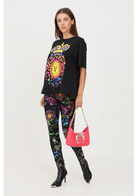 Black leggings by versace jeans couture with allover baroque print VERSACE JEANS COUTURE | Leggings | 71HAC101JS008899