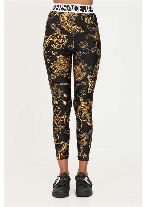 Black gold leggings by versace jeans couture with allover baroque print VERSACE JEANS COUTURE | Leggings | 71HAC101JS008G89 (899+948)