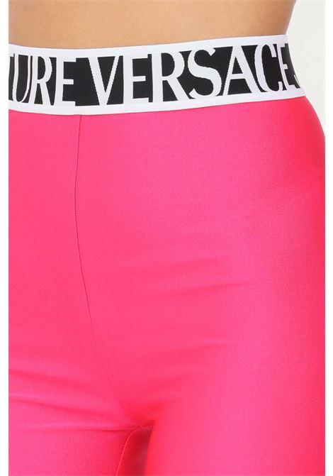 Leggings rosa fluo versace jeans couture con banda elastica logata VERSACE JEANS COUTURE   Leggings   71HAC101N0008413