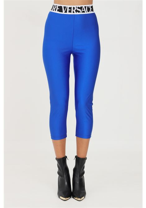 Cobalt leggings by versace jeans couture in solid color elastic waistband with logo VERSACE JEANS COUTURE   Leggings   71HAC103N0008243