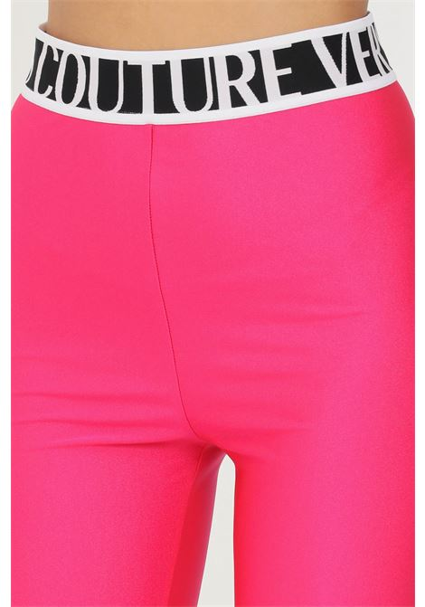 Pink leggings by versace jeans couture in solid color elastic waistband with logo VERSACE JEANS COUTURE   Leggings   71HAC103N0008413