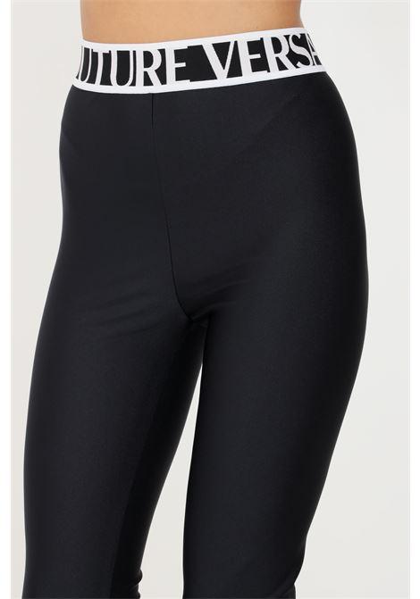Black leggings by versace jeans couture elastic waistband with logo VERSACE JEANS COUTURE   Leggings   71HAC103N0008899