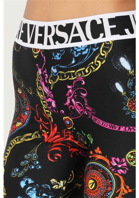 Black women's shorts by versace jeans couture casual model with allover print VERSACE JEANS COUTURE | Shorts | 71HAC106JS008899