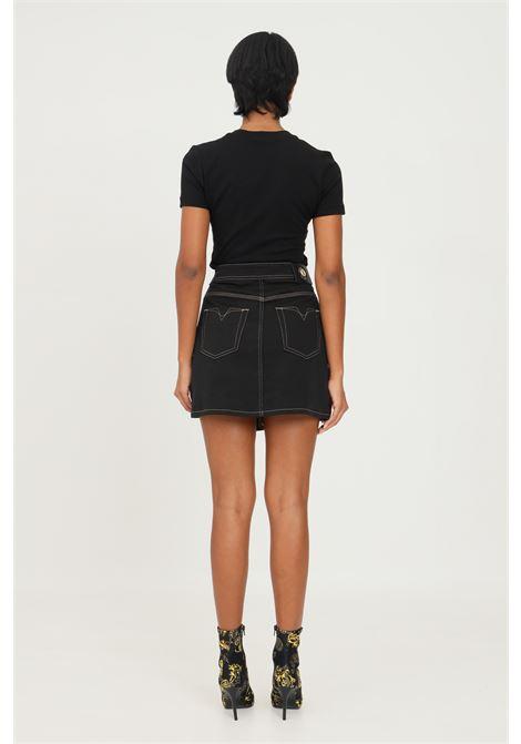 Gonna nero donna versace jeans couture con chiusura sul fronte VERSACE JEANS COUTURE | Gonne | 71HAE7IMET005L33 (899+923)