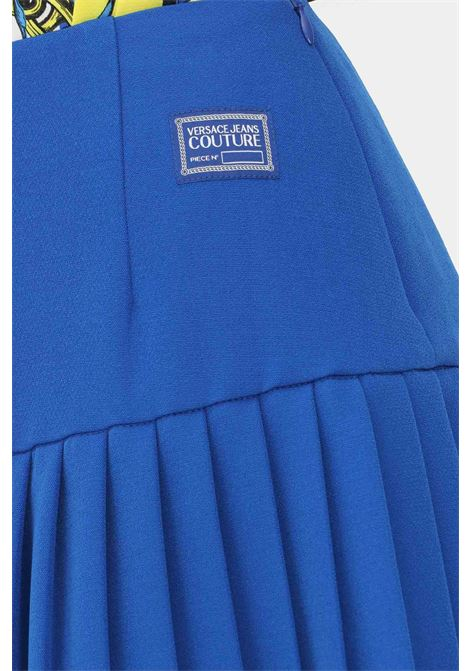 Gonna blu versace jeans couture corta con zip laterale VERSACE JEANS COUTURE | Gonne | 71HAE802N0006243