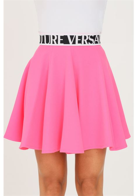 Fuchsia skirt by versace jeans couture with logo VERSACE JEANS COUTURE | Skirt | 71HAE809N0006455