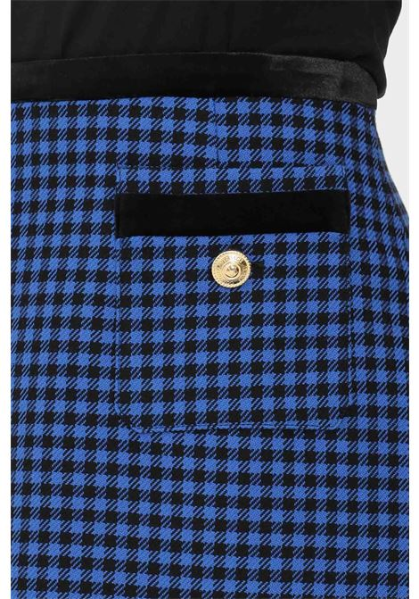 Blue skirt by versace jeans couture short model with pied de poule weft VERSACE JEANS COUTURE | Skirt | 71HAE810N0026242
