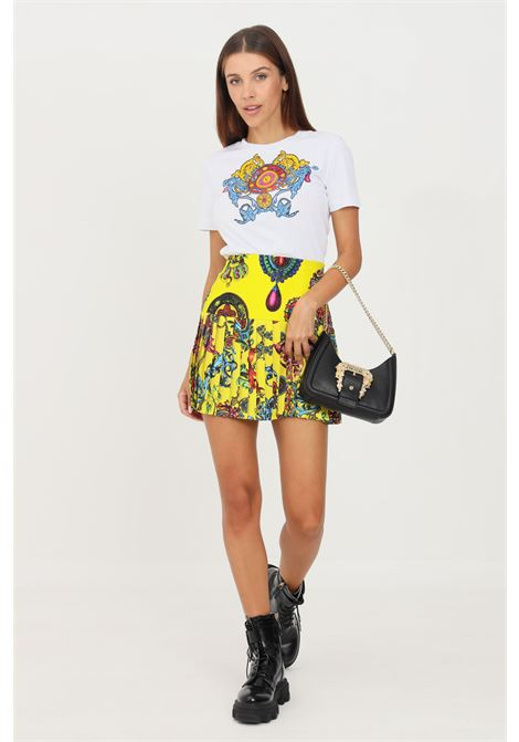 Yellow skirt by versace jeans couture pleated model with allover print  VERSACE JEANS COUTURE | Skirt | 71HAE8A2NS008618