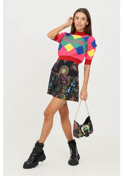 Black skirt by versace jeans couture pleated model with allover print  VERSACE JEANS COUTURE | Skirt | 71HAE8A2NS008899